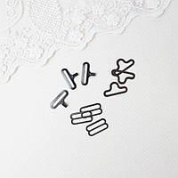 Застежки крючки для галстука-бабочки 18 мм, Антрацит