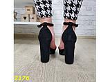 Босоножки 40 размер классика замшевые на широком толстом каблуке с платформой черные К2176, фото 3