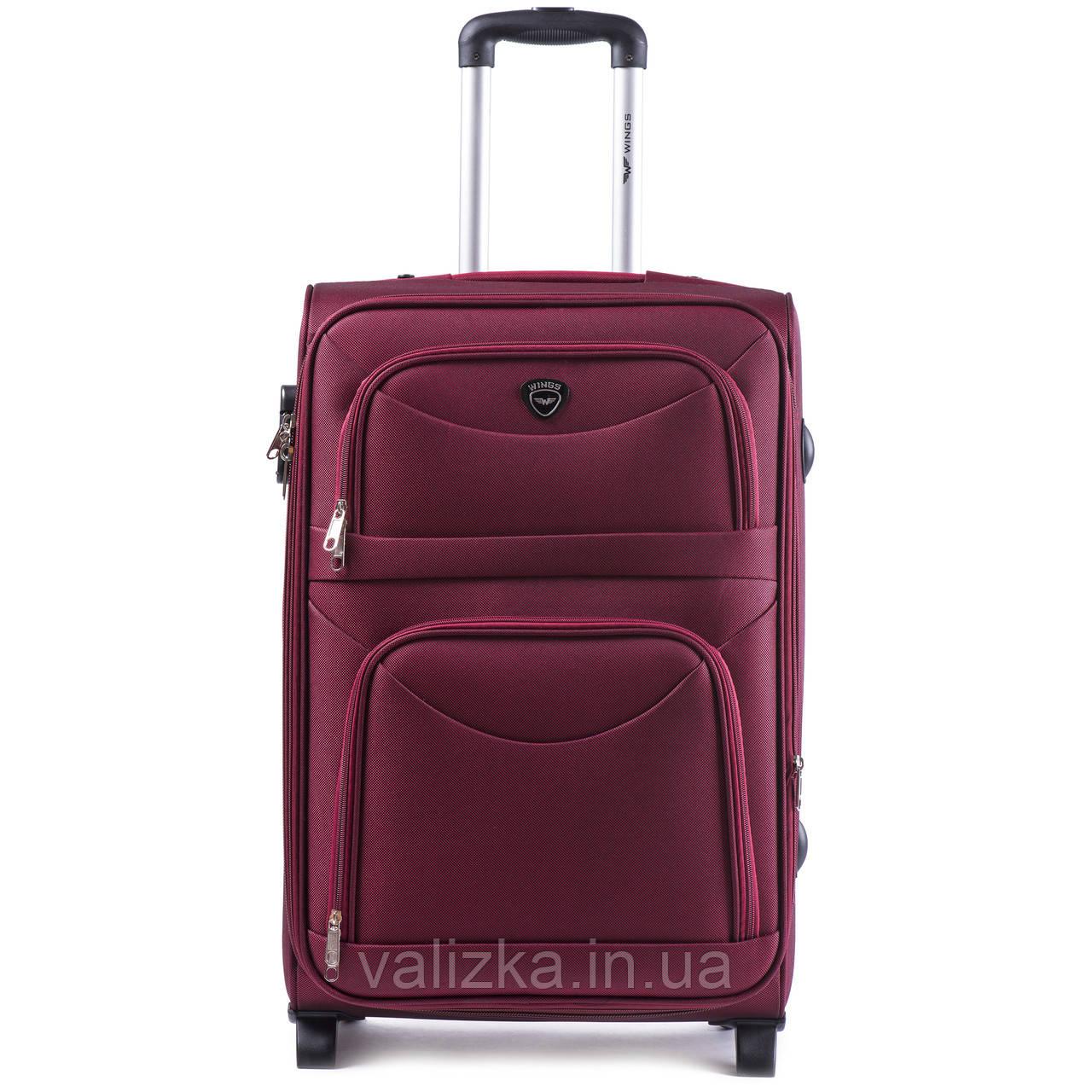 Средний текстильный чемодан красный с расширителем Wings 6802-2