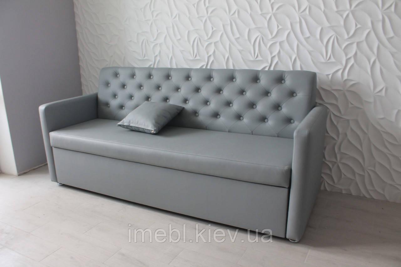 Кухонный диван с подлокотниками и спальным местом (Серый кожзам.)