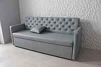 Кухонный диван с подлокотниками и спальным местом (Серый кожзам.), фото 1