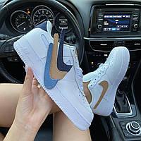 Женские кроссовки Nike Air Force Removable Swoosh. Кроссовки Найк женские. ТОП КАЧЕСТВО!!! Реплика.