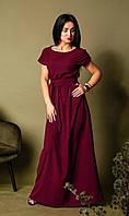 Длинное летнее платье в пол, летний однотонный женский длинный сарафан бордового цвета больших размеров .
