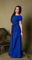 Длинное летнее платье в пол, летний однотонный женский длинный сарафан яркого синего цвета больших размеров .