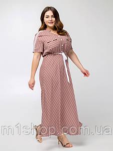 Легке приталене штапельне плаття в смужку з спідницею-полусолнце (Сатину lzn)