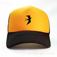 Бейсболка Swallow жовто-бурштинового кольору і чорним козирком, фото 1