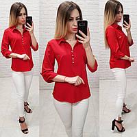 Блузка женская 828 (42 44 46 48) (цвета: красный,голубой,бутылка, зеленый,черный,бордо, электрик) СП, фото 1