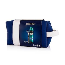 Подарунковий Набір Gillette Mach3 (Бритва Gillette Mach3 + касета + Гель + косметичка) 8271