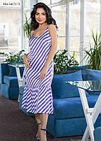 / Размер 44,46,48,50,52,54 / Женское летнее шелковое платье прямого силуэта на тонких бретелях