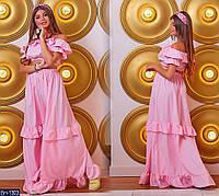 Нарядный женский костюм топ с длинной юбкой в пол арт. 361