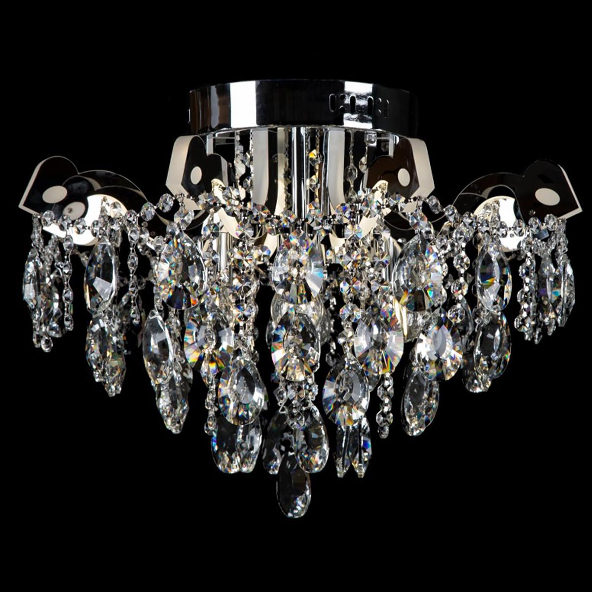 Хрустальная люстра СветМира на 4 лампочки со встроенной LED подсветкой рожков VL-2877/4+8 LED