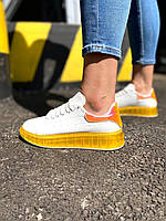 Жіночі кросівки білі з жовтим, фото 1