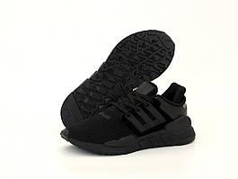 Мужские кроссовки Adidas EQT Support ADV Triple Black (Адидас ЕКТ черно-белые 41-45 весна/лето)