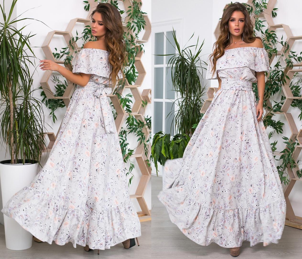 Женское летнее платье в пол с открытыми плечами.Размеры: 42/44/46. +цвета