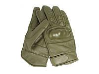 Кожаные тактические перчатки (Olive), фото 1