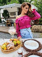 Легкая летняя женская блуза малиновая с широкими рукавами 42-44, 46-48