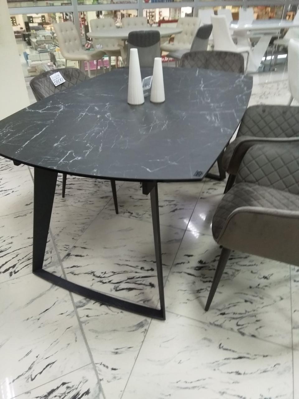 Стол обеденный CALGARY (Калгари) керамика черный под мрамор 160/210 от Niсolas