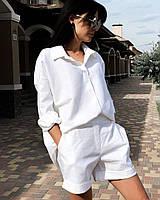 Летний белый костюм рубашка с шортами (S)