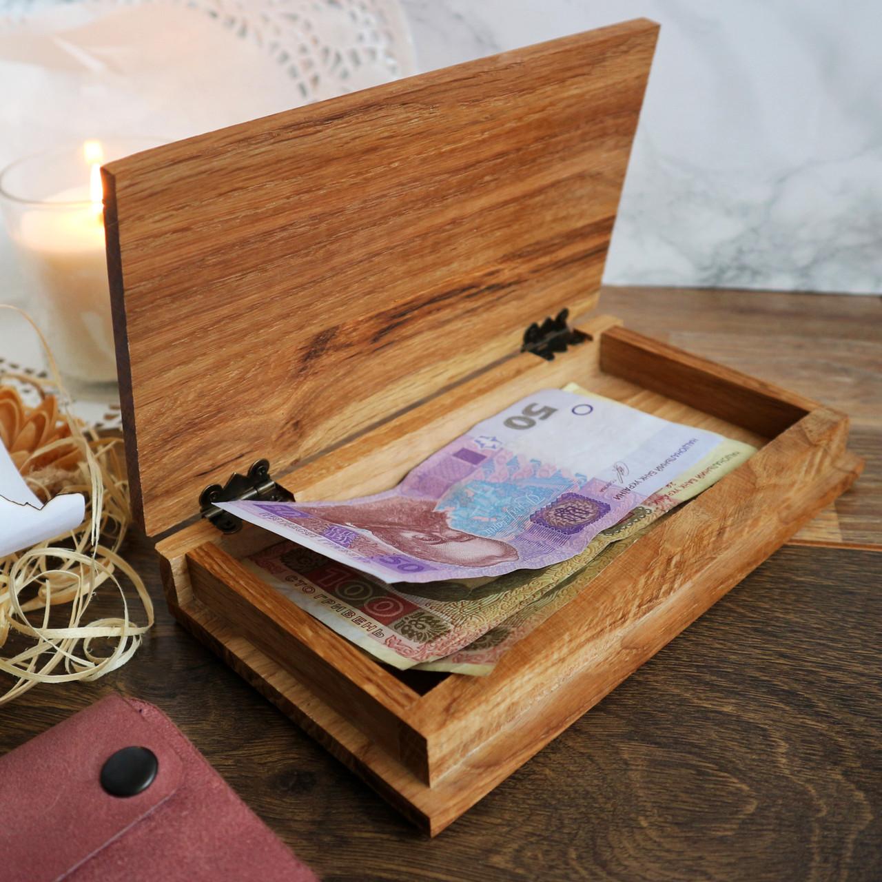 Дерев'яний чекбук (розрахункова книжка) 190 х108 х37һ мм, дуб