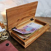 Дерев'яний чекбук (розрахункова книжка) 190 х108 х37һ мм, дуб, фото 1