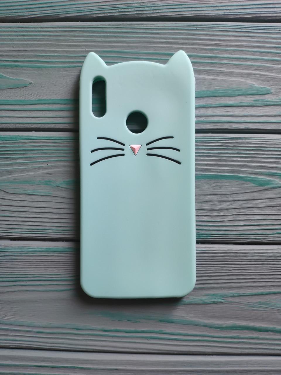 Чохол 3D Cat для Huawei Y7 2019 Бампер Вусики Рожевий