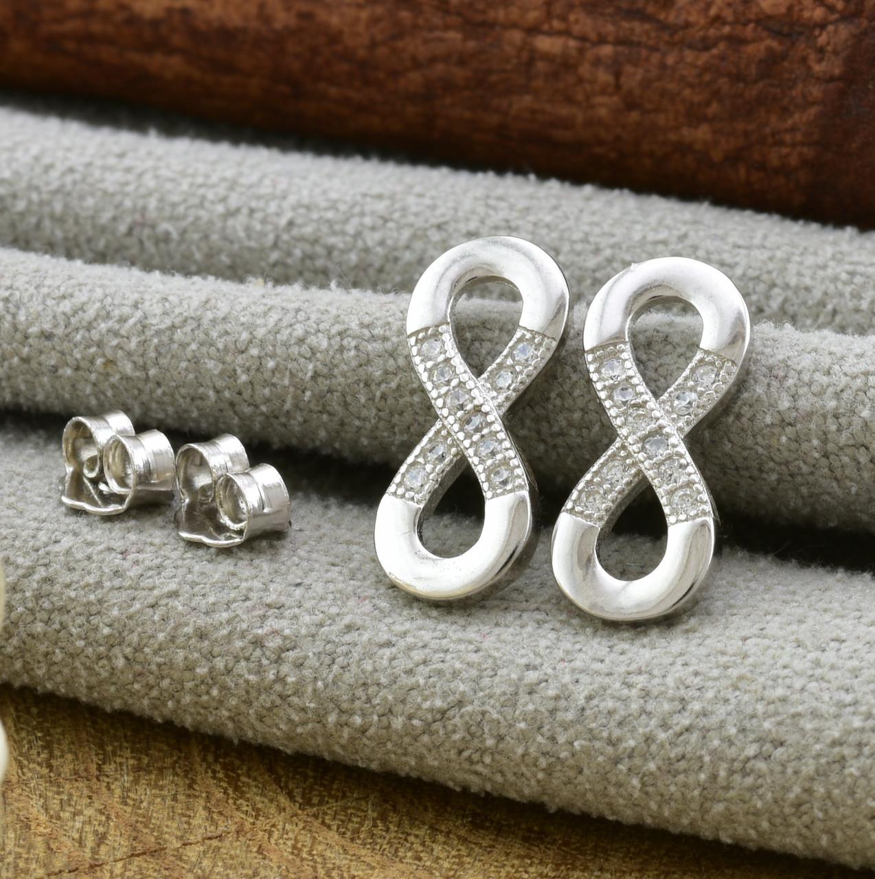 Серебряные серьги гвоздики ТС9520072б размер 12х6 мм вставка белые фианиты вес 1.03 г