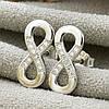 Серебряные серьги гвоздики ТС9520072б размер 12х6 мм вставка белые фианиты вес 1.03 г, фото 2