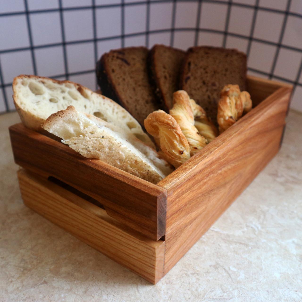 Дубовий сервірувальний лоток для хліба Кантрі 225х135х70 мм, Дуб