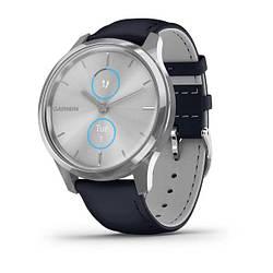 Смарт часы Garmin Vivomove Luxe сріблястий з темно-синім ремінцем з італійської шкіри
