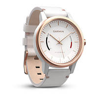 Смарт часы Garmin Vivomove Classic з білим шкіряним ремінцем, рожево-золотистий