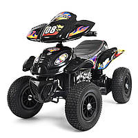 Квадроцикл M 2403ALR-2 (1шт) 2мотора 28W, 2аккум 6V7AH,рез.колеса,кож.сид.ручка.газа.,черный,