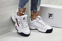 Женские кроссовки белые с красным Fila РП-6323