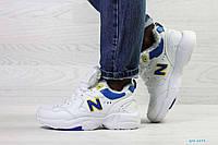 Женские кроссовки белые с синим на зиму New Balance 6894
