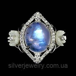 Серебряное кольцо с ЛУННЫМ КАМНЕМ (натуральный), серебро 925 пр. Размер 18
