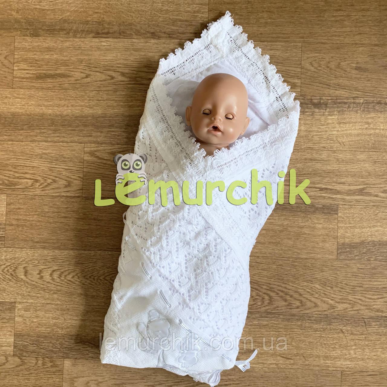 """Конверт-плед для новорожденных легкий на выписку и в коляску """"Аист"""" белый, серебристая ленточка"""
