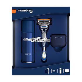Подарочный набор Gillette Fusion (станок + 1 кассета + гель для бритья 75мл + подставка) 8260
