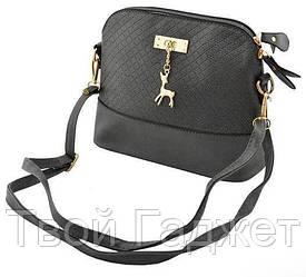 Модная женская сумка через плечо Бемби серая
