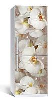 Самоклеющаяся виниловая пленка наклейка на холодильник IdeaX Орхидея и капли росы 65х200 см