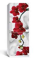 Самоклеющаяся виниловая пленка наклейка на холодильник IdeaX Орхидея алая жемчужина 65х200 см
