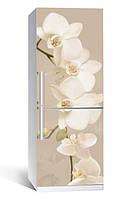 Самоклеющаяся виниловая пленка наклейка на холодильник IdeaX Орхидея беж 01 65х200 см