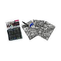 Набор Graph'it  3 раскраски + 8 шт двусторонних маркеров  (3700010001505)