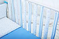Бортики в детскую кроватку Хлопковые Традиции 15х50 см 6 шт Голубой