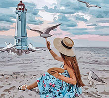 Набор картина по номерам Rosa Start стандарт Девушка и чайки 35х45см (4823098514077)