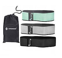 Гумка для фітнесу та спорту тканинна Springos Hip Band 3 шт FA0112