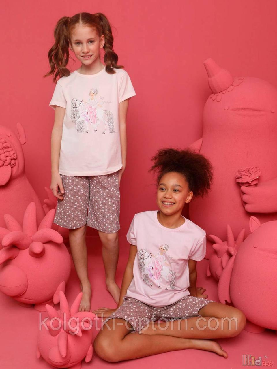 ОПТОМ Пижама шорты и футболка Tiny Princess для девочки 8-9 лет (134 см.)  Donella 8697840567415