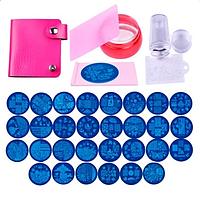 Стемпинг для маникюра 2 штампа 30 пластин скребок Biutee набор в чехле