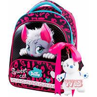 Рюкзак ранец школьный каркасный с мешком для сменной обуви пеналом и мягкой игрушкой DeLune 9-123