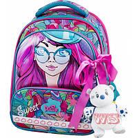 Рюкзак ранец школьный каркасный с мешком для сменной обуви пеналом и мягкой игрушкой DeLune 9-122