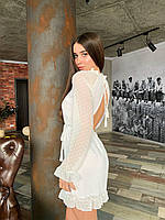 Нежное белое шифоновое платье с открытой спиной