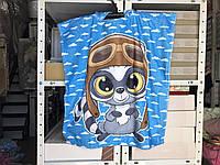 Детское яркое полотенце пончо Енот Цвет голубой велюр-махра 3D принт 100% Хлопок 60*120